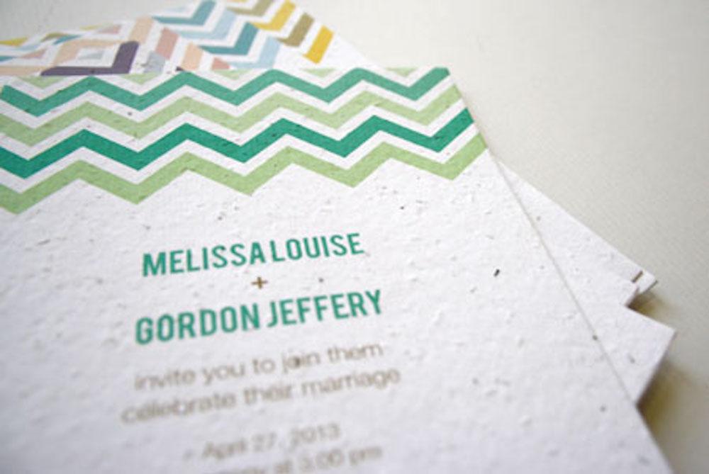 New Plantable Chevron Wedding Invitations