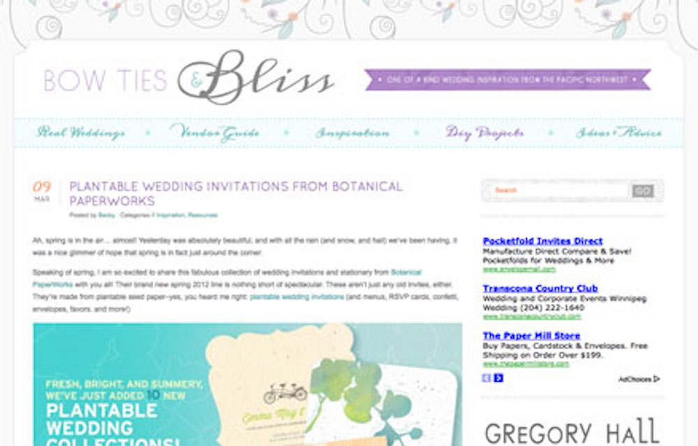 Botanical PaperWorks Spring Plantable Wedding Invitations Featured on Bow Ties & Bliss Blog