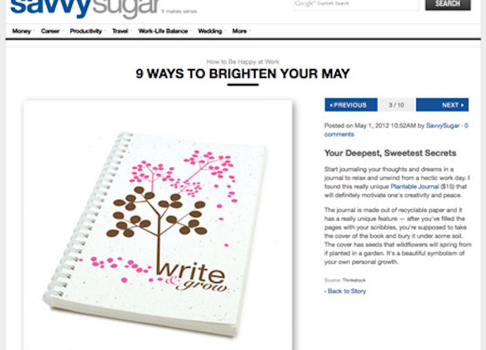 SavvySugar Selects Plantable Journals as a Way to Brighten Your May