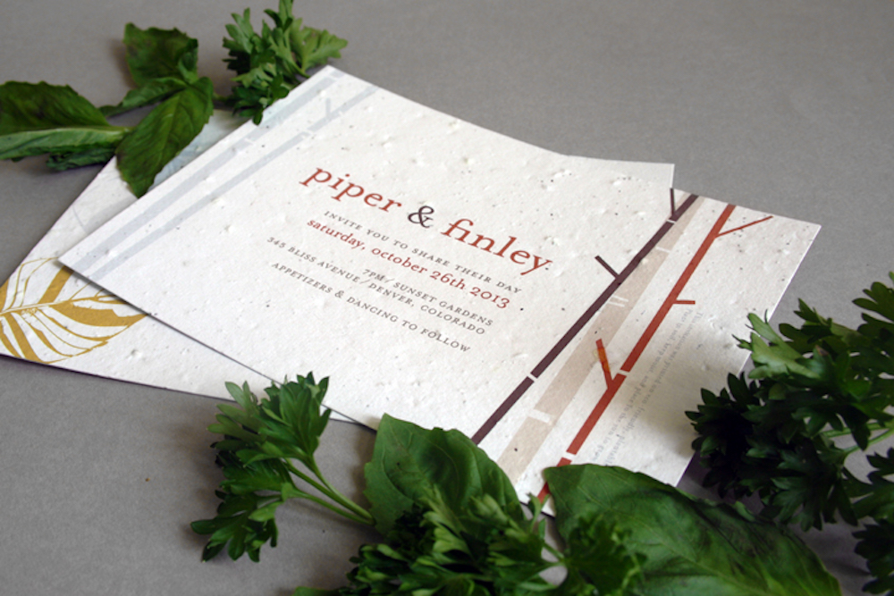 New! Herb Seed Paper Option for Plantable Wedding Invitations and Save The Date Cards