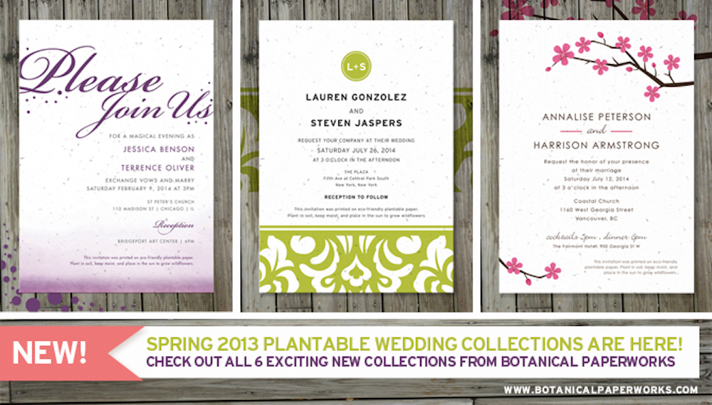 New! Spring 2013 Plantable Wedding Collection