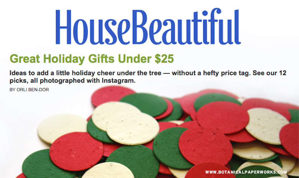 House Beautiful features Christmas Confetti on Best Gift Ideas Under $25