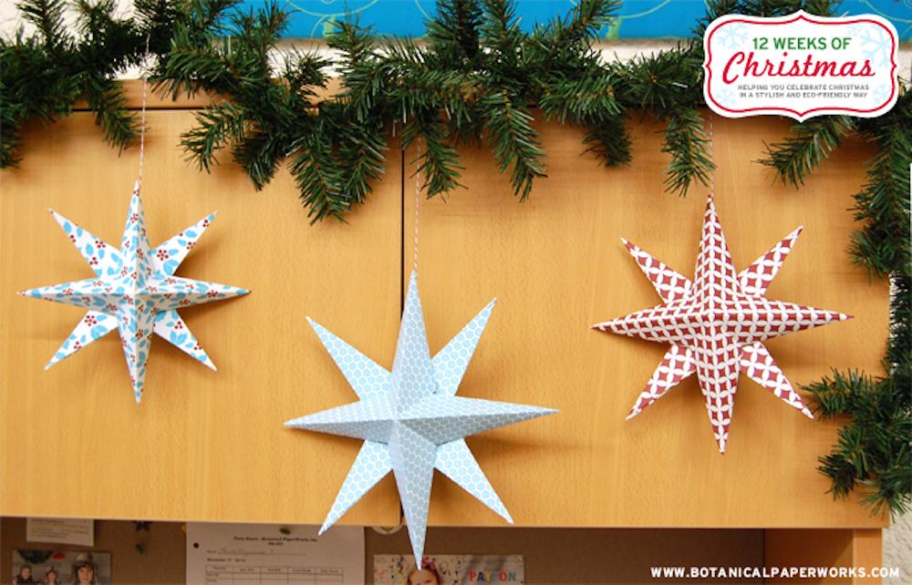 {free printable} Hanging Holiday Stars DIY