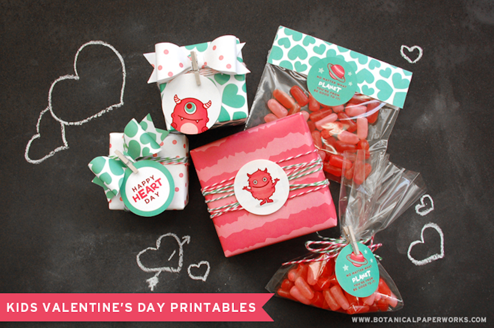 {free printable} Kids Valentine Eco Monster Stickers and Wrapping Paper