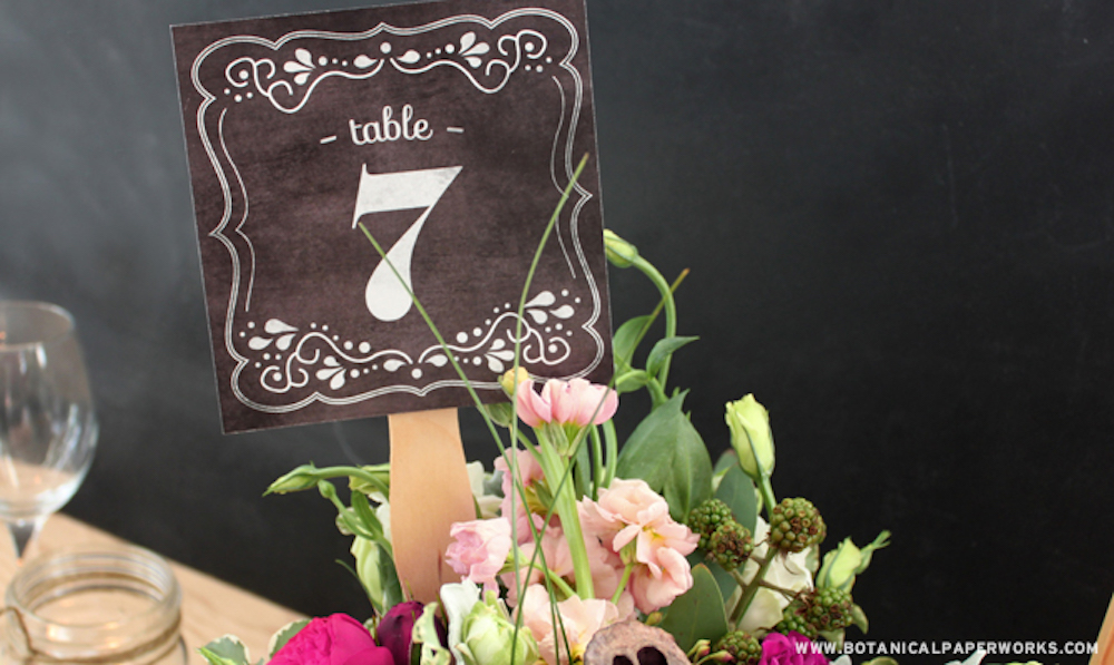 {free printable} Chalkboard Wedding Table Numbers