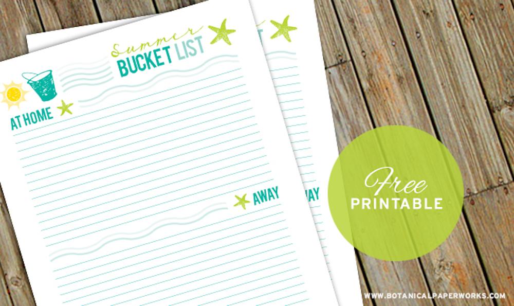{free printable} Summer Bucket List