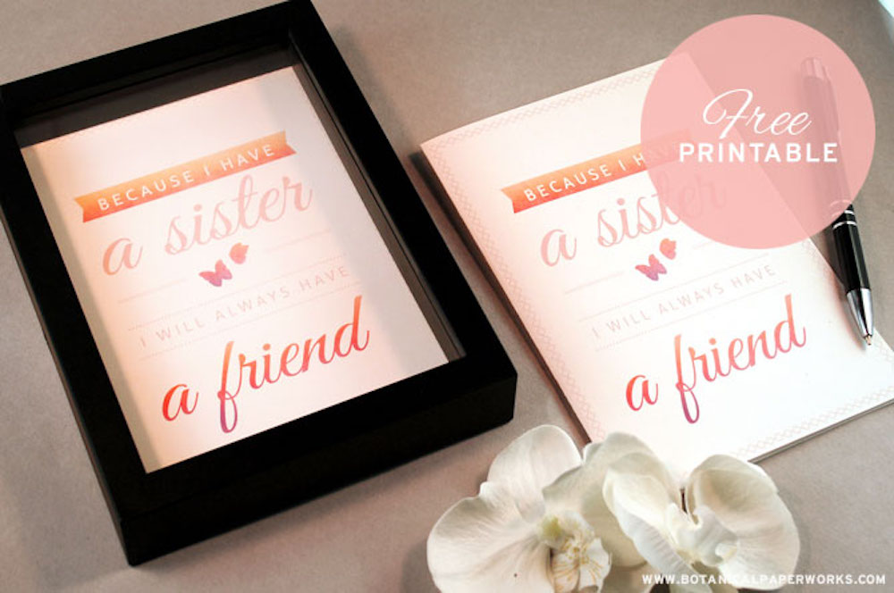 {free printable} Sister Quote + 5 Tips For Celebrating Sister's Day on August 2