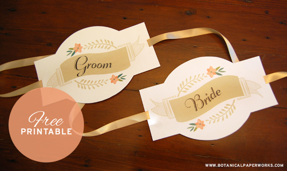 Free Printable Bride And Groom Signs