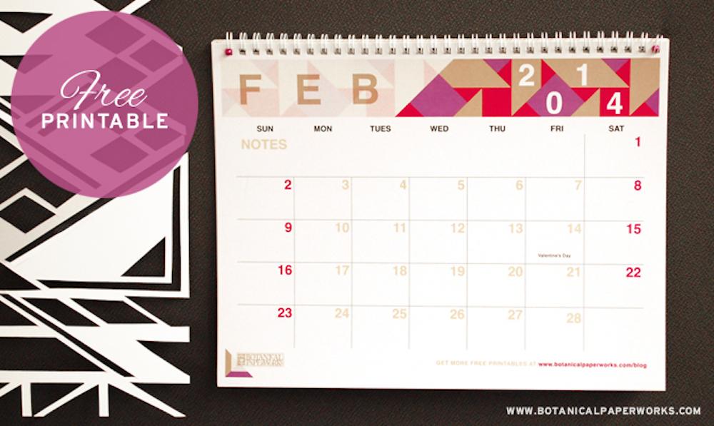 {free printable} 2014 Monthly Calendar