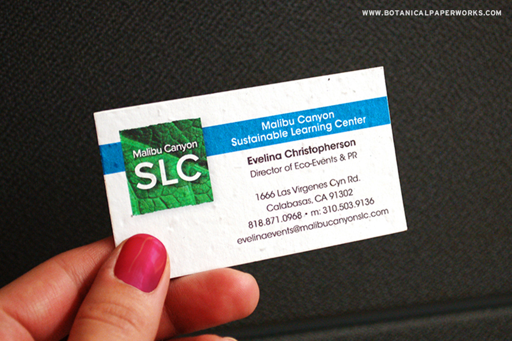 plantable seed paper business cards for Malibu Canyon Sustainable Learning Center