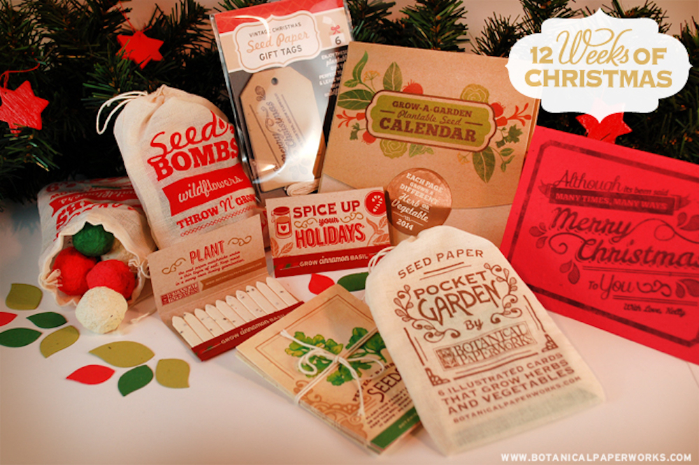 Seed paper holiday and christmas plantable gifts and giveaways