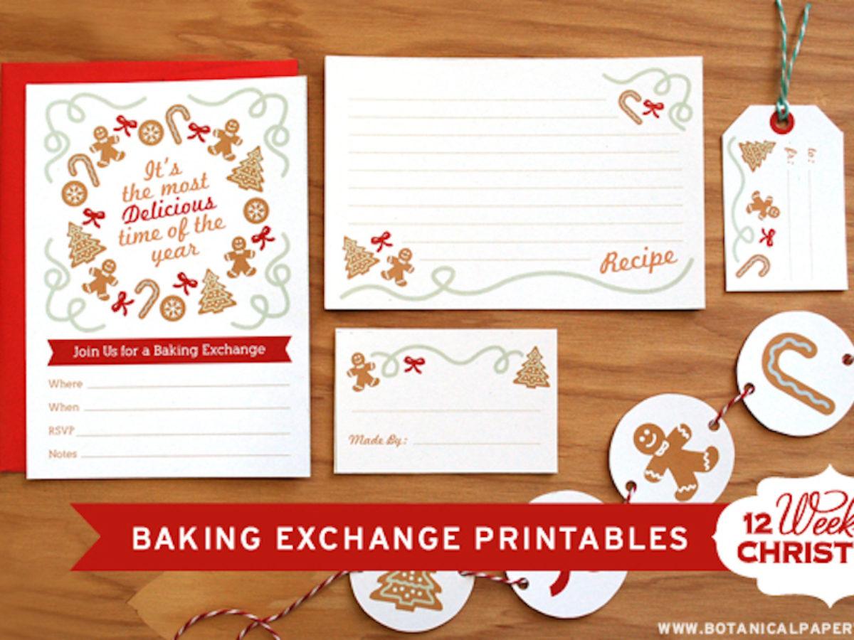 Free Printable Christmas Baking Exchange Botanical Paperworks