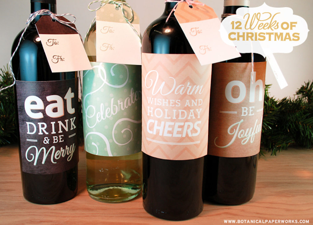 {free printable} Holiday Bottle Labels and Gift Tags
