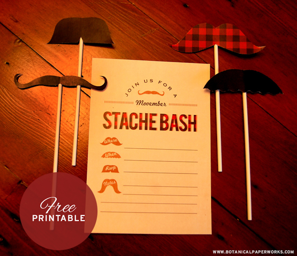 Free Printable Movember Invite And Mustaches