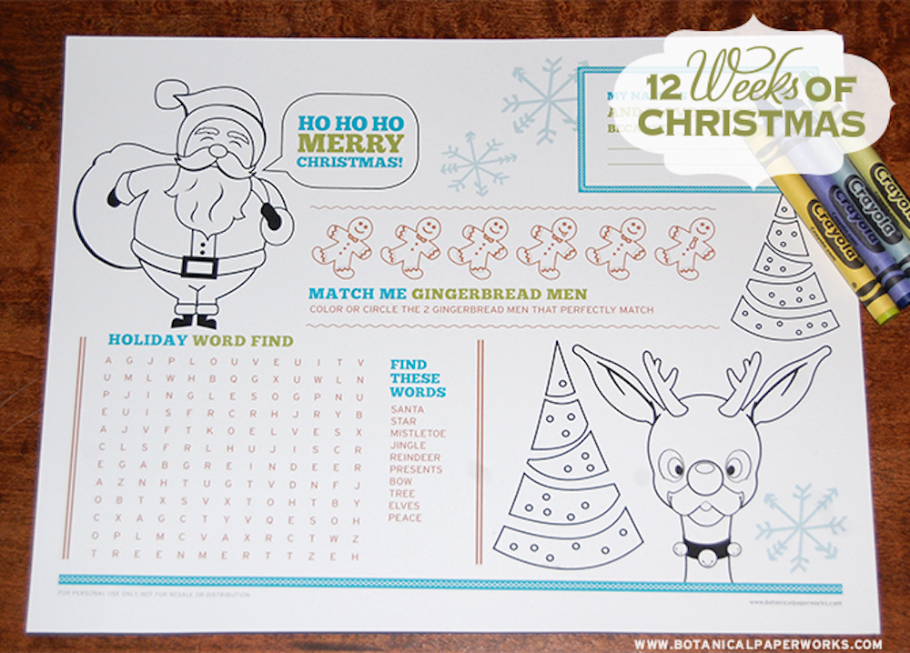 Free Kids Christmas Activity Placemat Printable