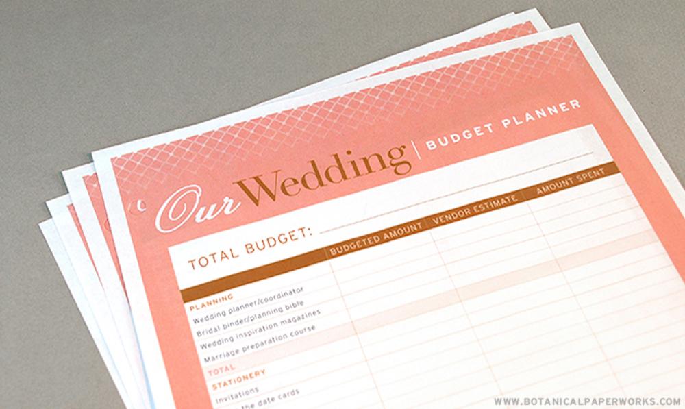 Wedding Budget Planner Free Printable
