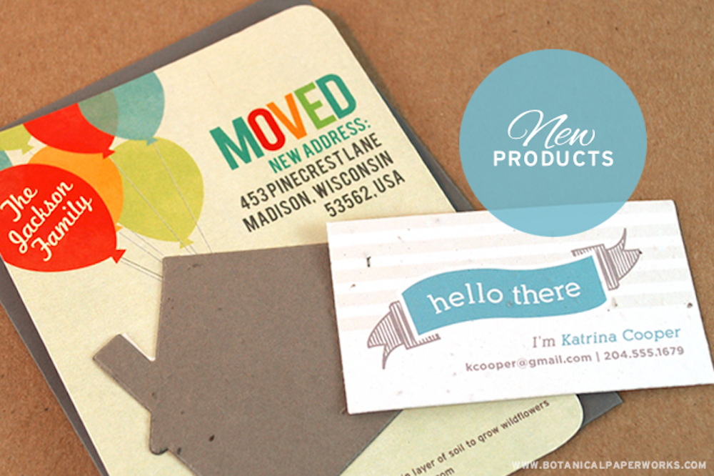 moving out seed paper calling cards that can be planted to grow wildflowers