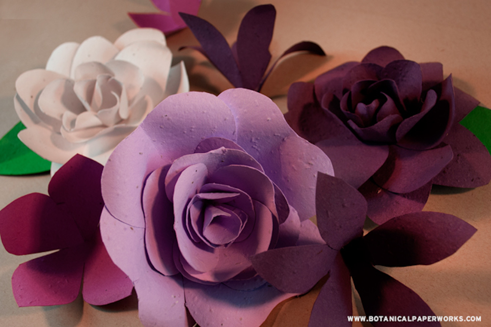Purple seed paper flowers craft