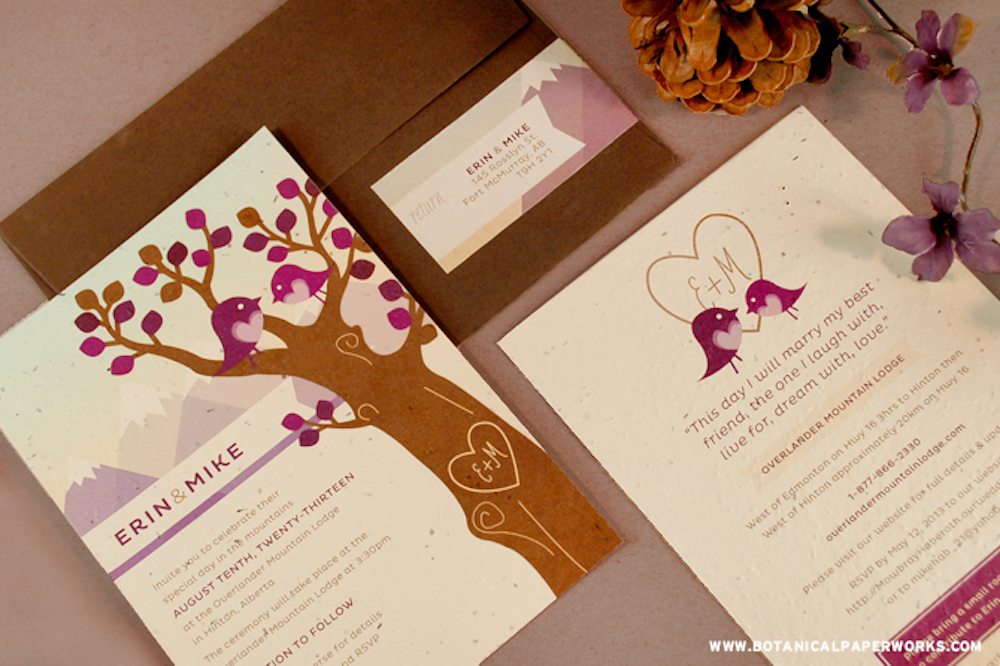 Custom Plantable seed paper Wedding Invitations with tree designs