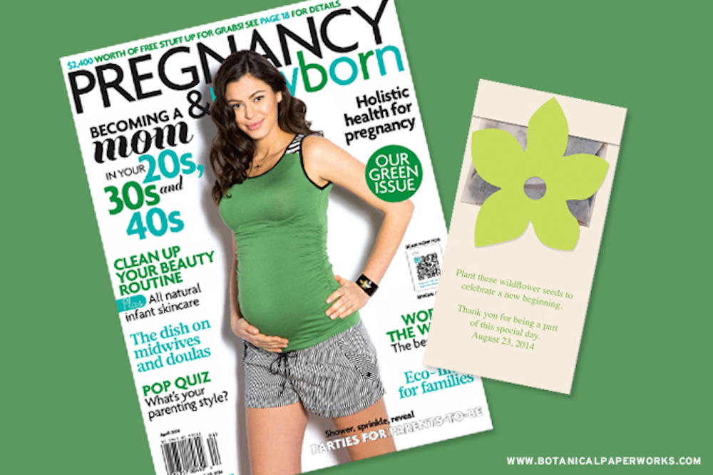 Botanical PaperWorks Wildflower Seed Packet Favor Featured In Pregnancy & Newborn Magazine