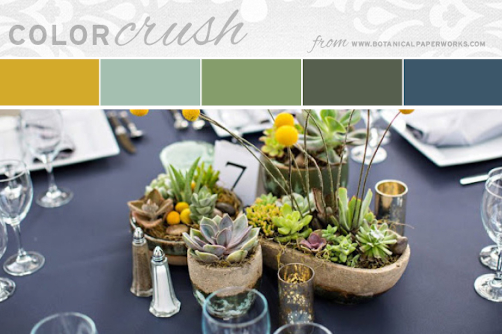 Mustard Yellow with Succulent Tones wedding color inspiration