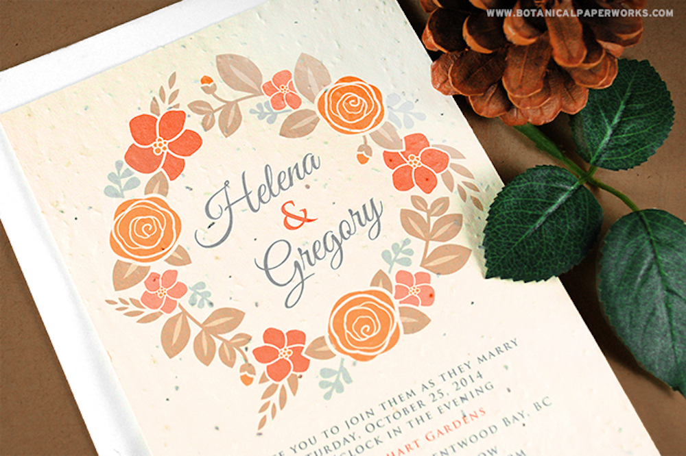 Seed Paper Wedding Invitations For Autumn
