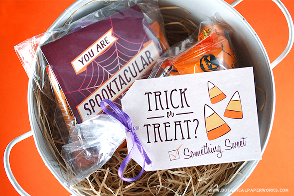 Halloween Treat Labels & Tags with candy in a bowl