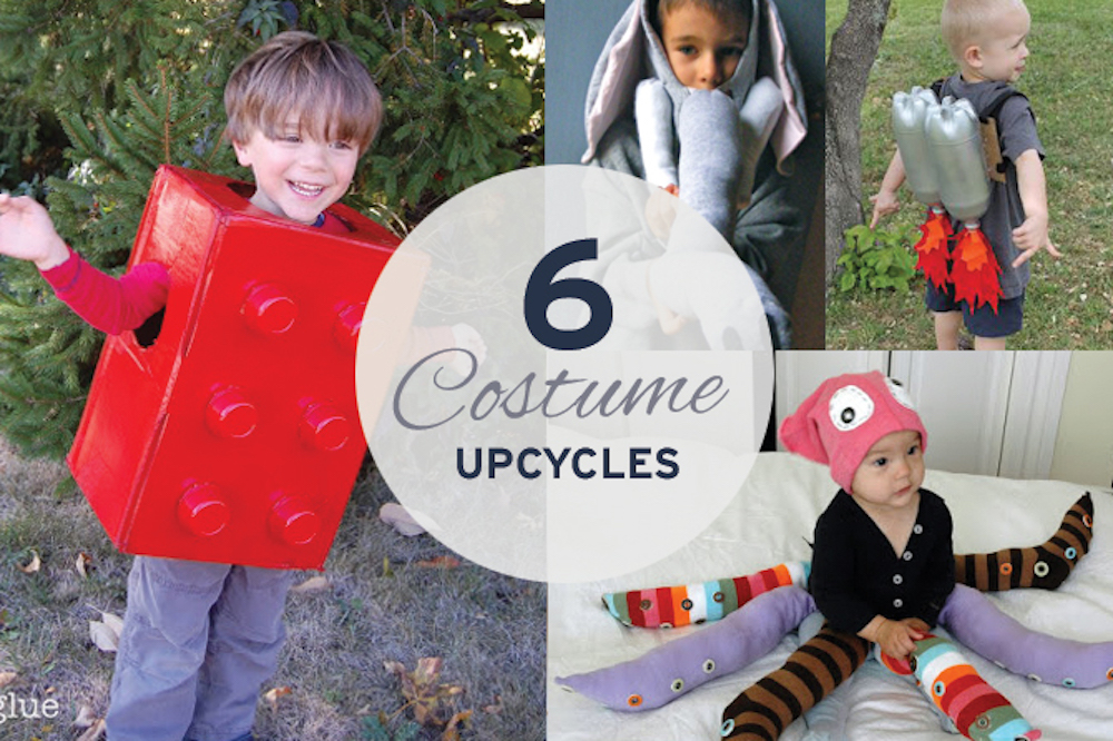 kids wearing upcycled, eco-friendly halloween costumes