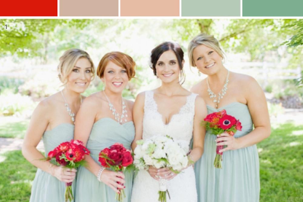 Mint Green, Blush + Poppy Red Wedding Color Theme Inspiration