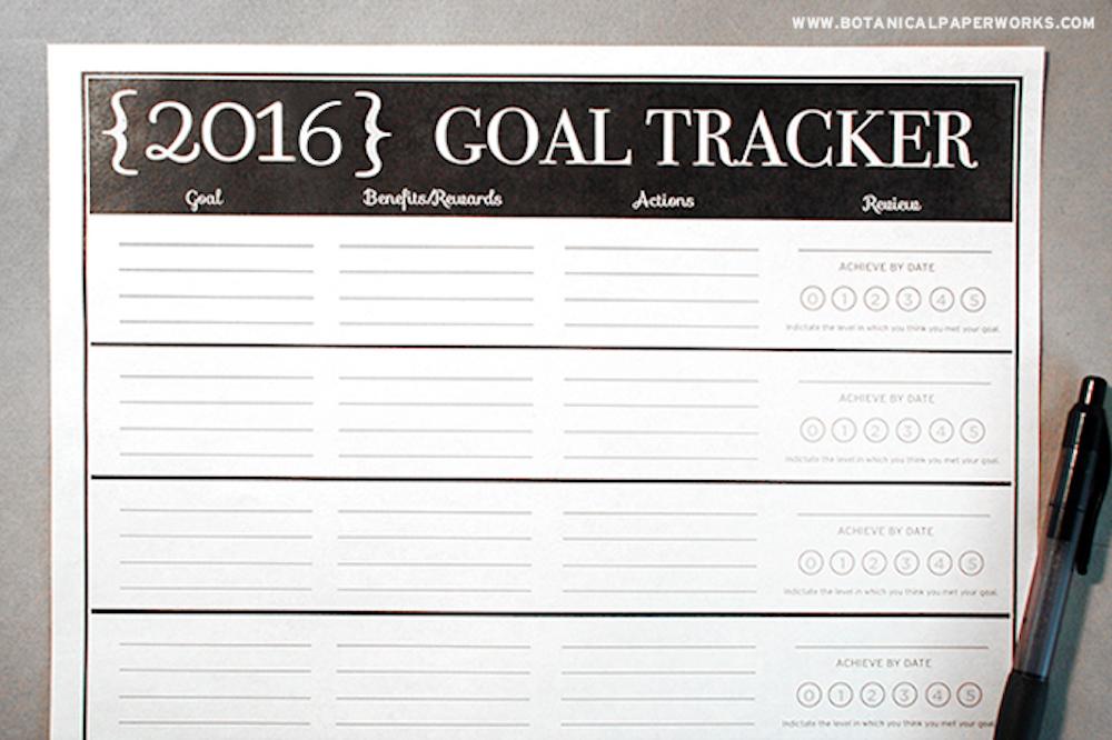2016 Goal Tracker Free Printable