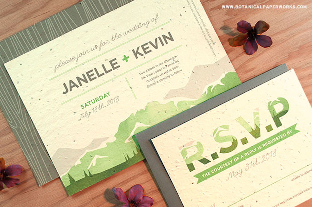 Add natural and rustic beauty to your earthy wedding theme with the NEW Mountain Seed Paper Wedding Invitations!