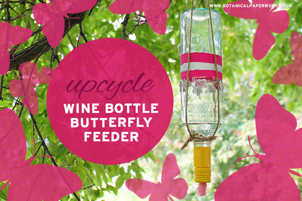 Find out how you can beautify your #garden in just 6 simple steps with this #upcycle wine bottle butterfly feeder! #DIY #craft #wine