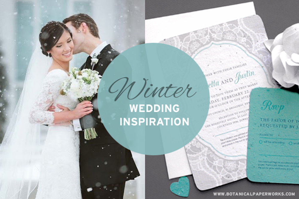 We've paired five of our most beautiful and popular seed paper wedding invitations for winter weddings with stylish details to match the colours and themes.