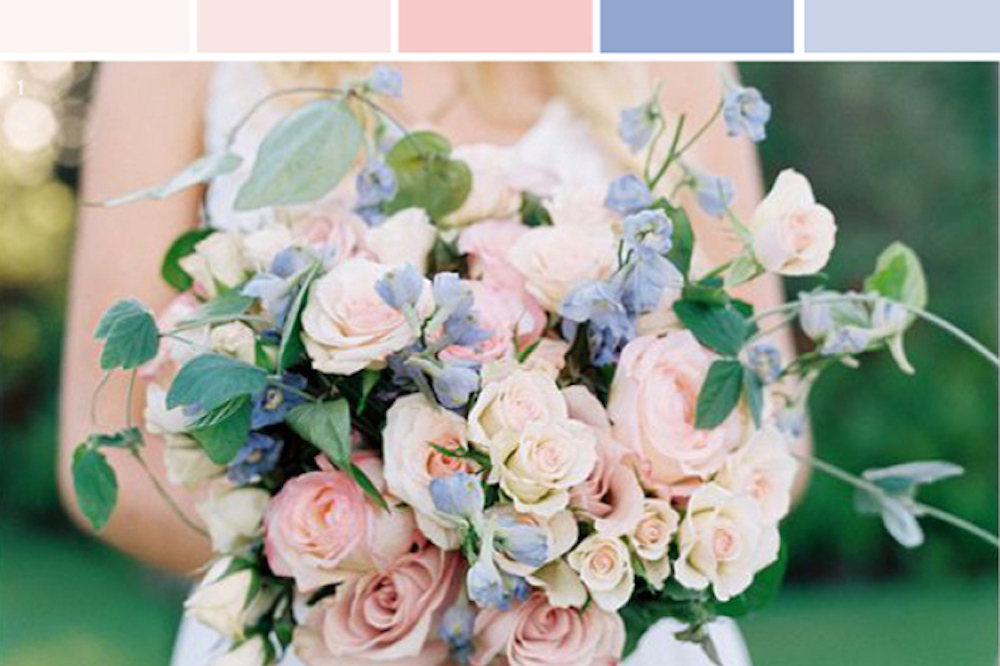 Pantone's 2016 Color Of The Year, Rose Quartz and Serenity is a soft and femine combination for summer weddings.