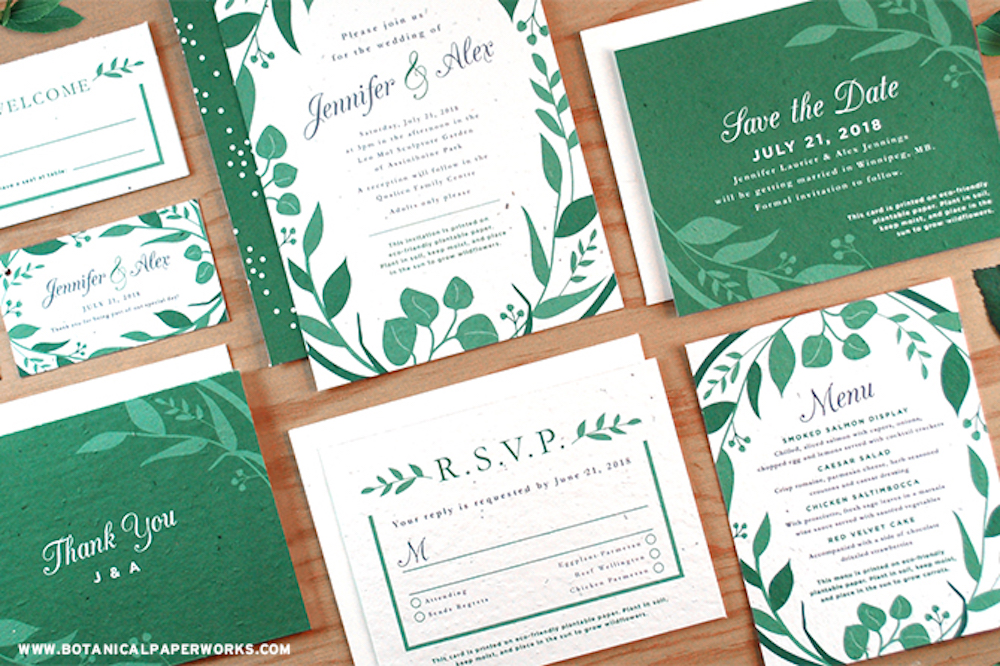 Inspired by the natural beauty of a lush garden, the NEW Classic Greenery Plantable Wedding Collection was created for couples who love fresh, organic beauty. Take a look at all of the pieces included in this stunning stationery collection.