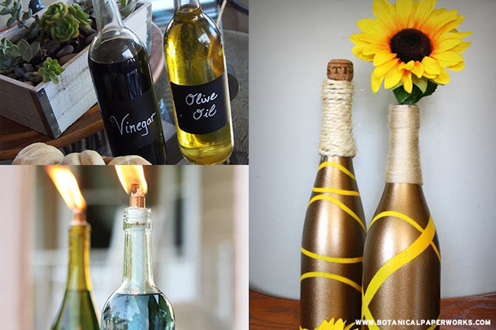 The holiday season has passed and if you're anything like us, you probably have a quite a few empty wine bottles around the house. Instead of tossing them, creating something beautiful from them with these 10 wine bottle upcycle ideas.