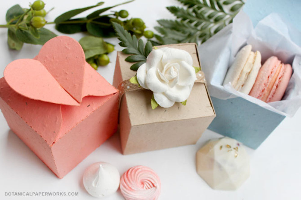 Seed Paper Wedding Favor Boxes