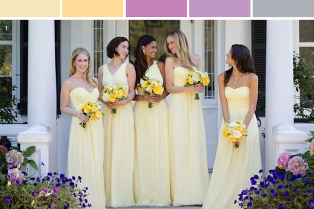 yellow lilac and lavender wedding color palette