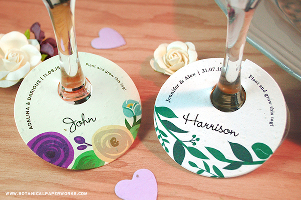 Plantable wine glass neck tags for weddings