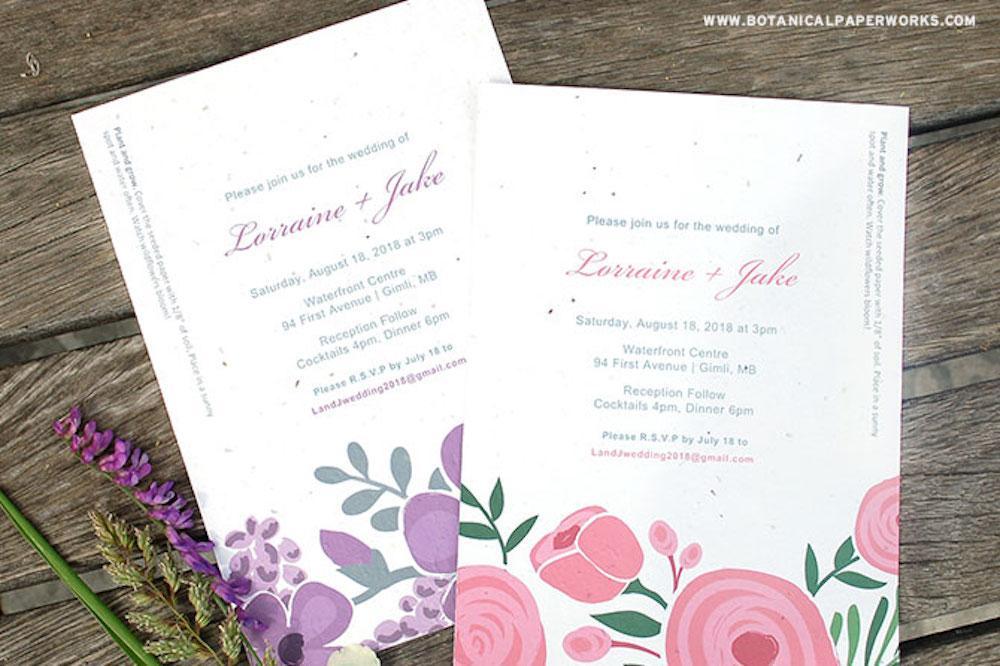 Seed Paper Printable Wedding Invitations Kit