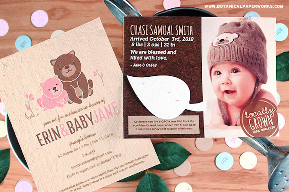 eco-friendly seed paper baby shower products