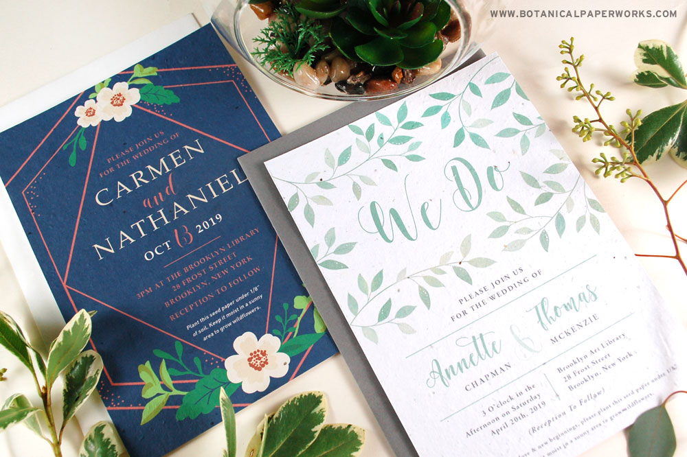 Designed for the latest wedding trends, these 2 NEW Plantable Wedding Invitations are both beautiful and eco-friendly!