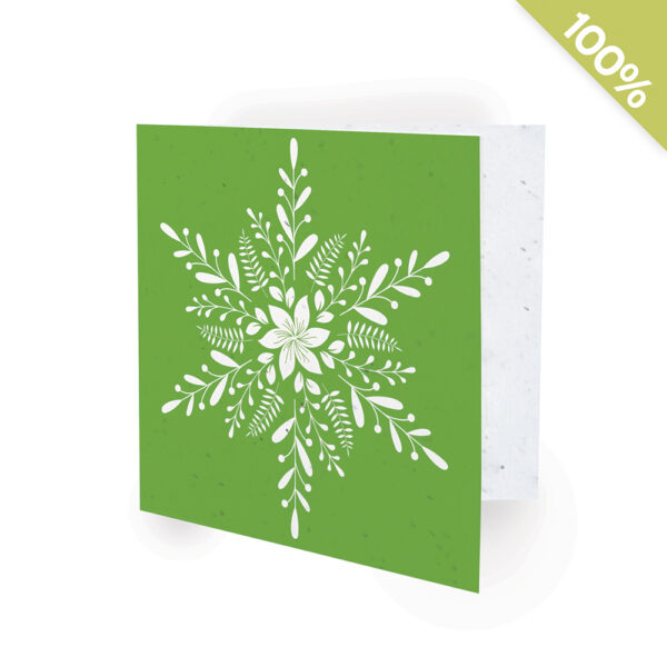Represent your business in a beautiful and eco-friendly way this holiday season with these a plantable corporate holiday card featuring a botanical snowflake design.