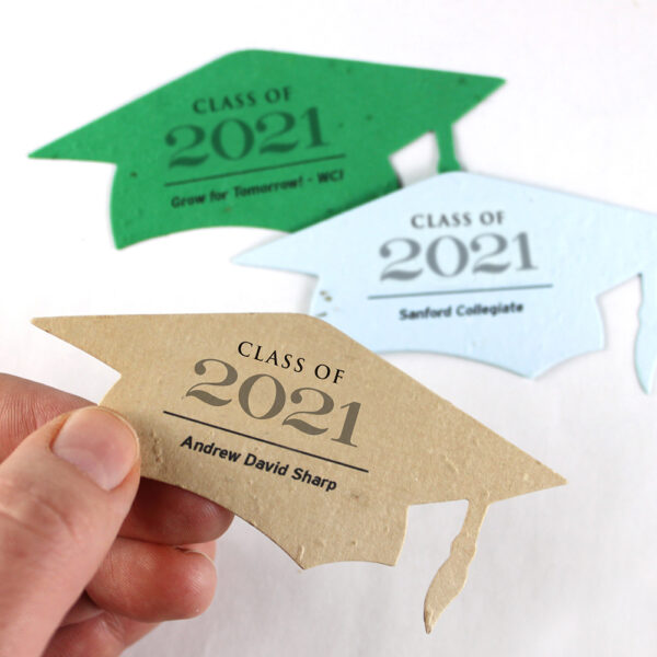 Made special for graduation parties and ceremonies, these personalized graduation favors are symbolic of growth and the future.