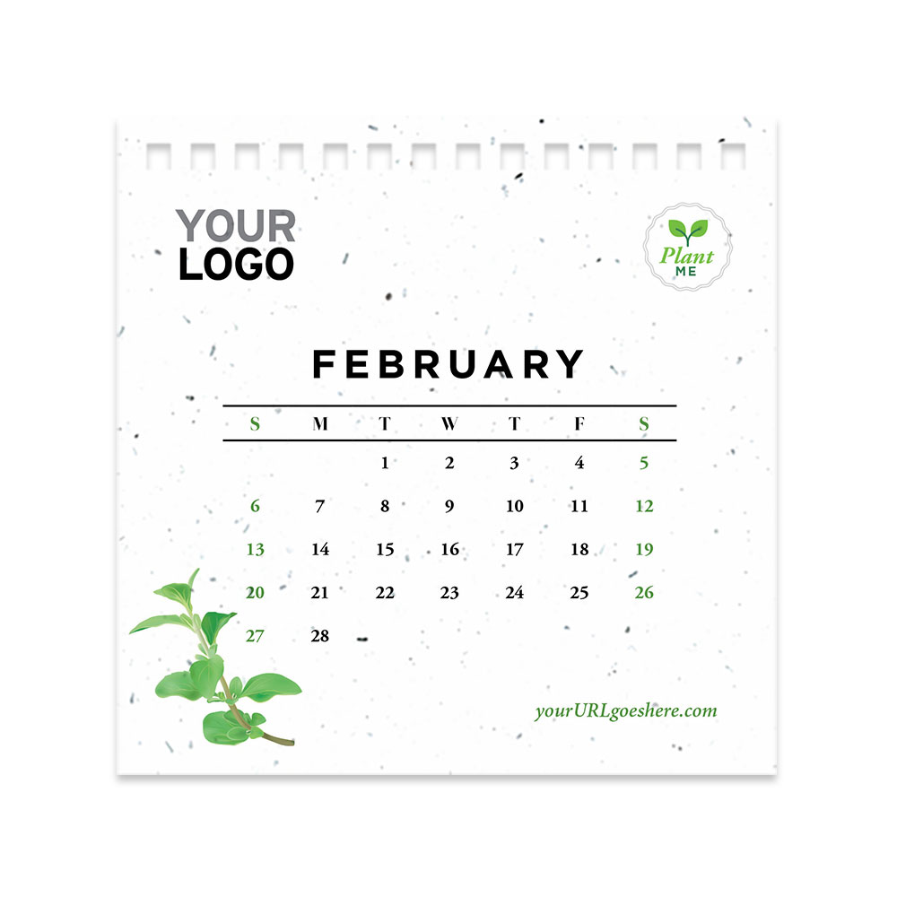 Herb seed paper calendar page - February