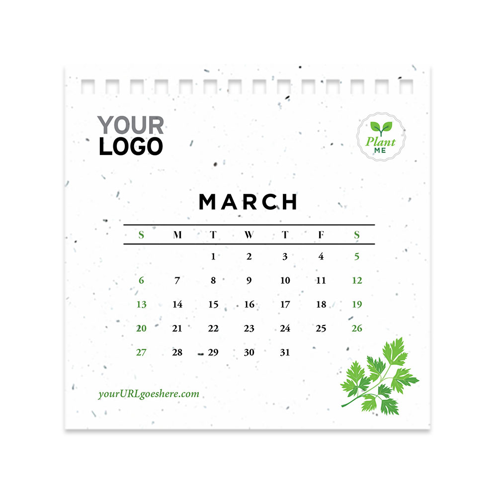 Herb seed paper calendar page - March