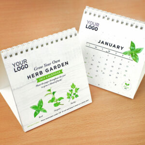 Eco-friendly desktop calendar made with seed paper.