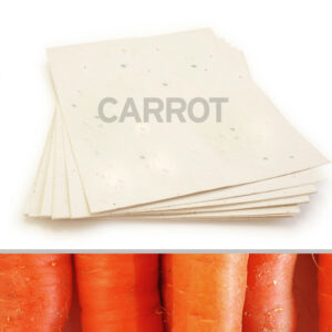 This 8.5 x 11 Cream Carrot Plantable Seed Paper is embedded with NON-GMO seeds that grow a garden of fresh carrots when planted in soil.