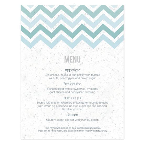 Plantable chevron menu cards