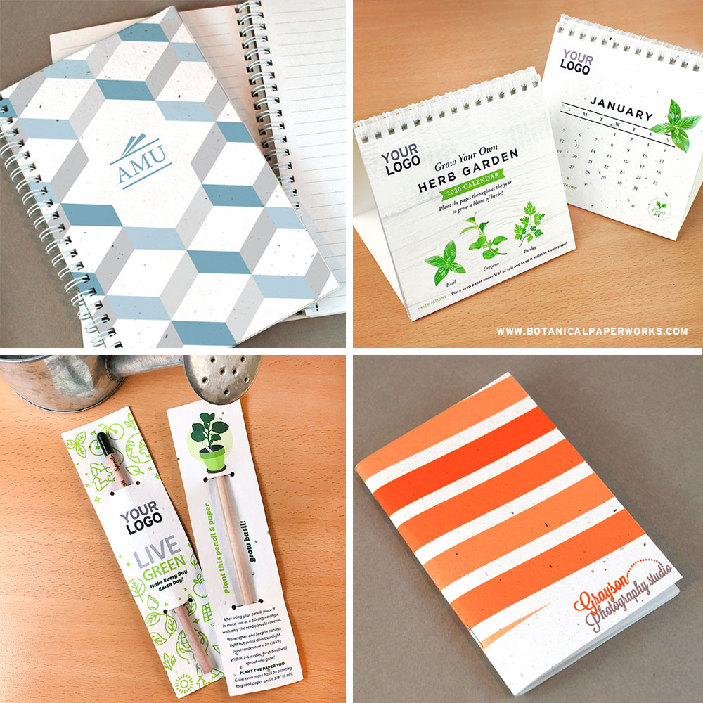 Sustainable small business promotional items: plantable seed paper pencils, calendars, notebooks, and journals.